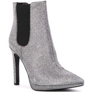 Michael Kors Silver Glitter Slip On Bootie Size 8